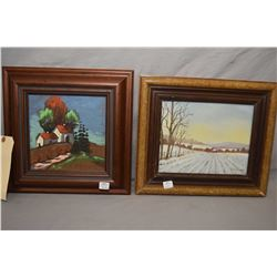 """Two framed original paintings including acrylic on board titled """"Pathway Home"""" signed by artist L. K"""
