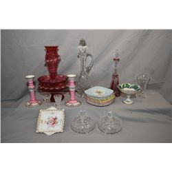 Two tray lots of collectible glass and porcelain including twelve Grafton side plates in three colou