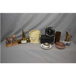 Tray lot of collectibles including Danish brass pencil holder, two small busts, Delft and brass ewer