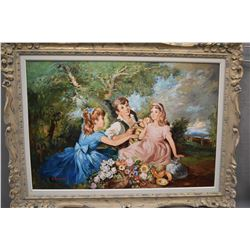 """Framed oil on canvas painting featuring children at a picnic signed by artist G. Romain, 26"""" X 38"""""""
