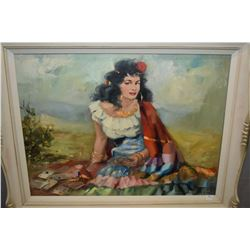 """Framed oil on canvas painting titled on verso """"Zarda"""" and signed by artist Zobola A.(?), 23"""" X 31"""""""