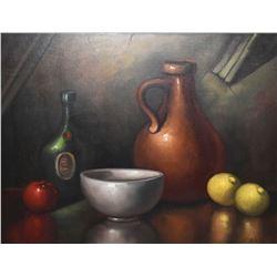 "Framed original oil on canvas still-life signed by artist H. Nak, 20"" X 24"""