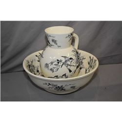 Vintage P. B & S Palawan glazed stoneware wash basin and water jug with decorative bird motif