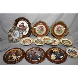 Three framed floral needleworks, three framed Norman Rockwell collector plates, six Franklin porcela