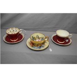 Three Aynsley bone china cups and saucer including hand painted signed by artist J.A Bailey