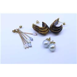 Three pairs of gold earrings including pearl, freshwater pearl etc,