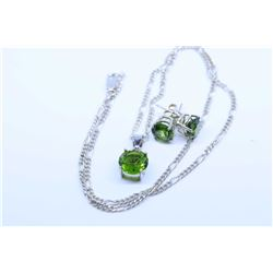 """Ladies sterling silver and gemstone style pendant and earrings set with 18"""" sterling chain"""