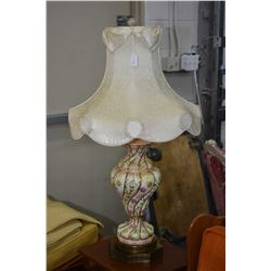 Pair of matching porcelain table lamps on brass bases