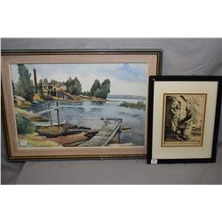 "Framed vintage William Stand etching ""Fruit Seller"" and an unsigned watercolour of a dock scene, 13"