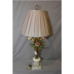 Vintage kitschy table lamp with hand painted metal flowers and foliage on marble base with shade
