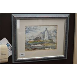 "Framed original coloured pencil drawing ""St. Marys"" signed by artist Parrinson, 5"" X 7"""