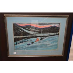 "Framed original pastel on paper of a wintry cottage scene signed by artist R. R. Dunbar 1965, 12"" X"