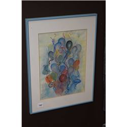 "Framed original pastel on paper ""Summer Balloons"" signed by artist Ruth Lockhart, 12"" X 9"""