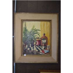 Framed oil on board painting of a chess board with enhancements signed by artist H. Konig 1957, 18""