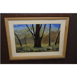 "Framed oil on illustration board painting titled on front and verso ""Summer Time"" signed by artist F"