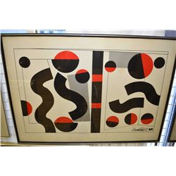 Large framed geometric lithograph, signed by artist Howard Smith