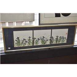 Three framed floral original watercolours in single frame signed by artist Virginia Koshman Gordon,