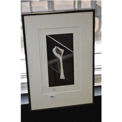 Framed black and white artist proof print, signed by artist