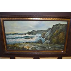 Framed oil on canvas painting of an incoming wave crashing on the rocks, signed by artist O. Searing