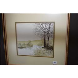 "Framed original watercolour on paper painting titled on verso ""Spring"" signed by artist Manly, 9"" X"