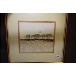 "Framed original watercolour on paper painting titled on verso ""Summer"" signed by artist Manly, 9"" X"