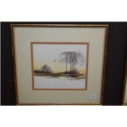 "Framed original watercolour on paper painting titled on verso ""Autumn"" signed by artist Manly, 9"" X"