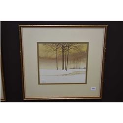 "Framed original watercolour on paper painting titled on verso ""Winter"" signed by artist Manly, 9"" X"