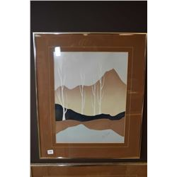 Framed original acrylic on heavy paper painting of trees and mountains signed by artist Wm. James, 1