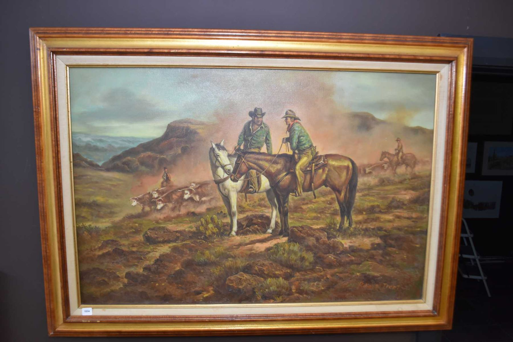 Large Framed Original Oil On Canvas Painting Of Cowboys