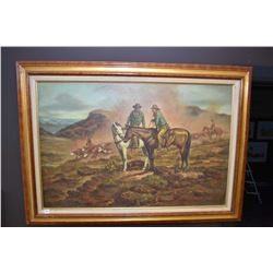 Large framed original oil on canvas painting of cowboys herding cattle, signed by artist Robert Tren