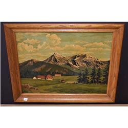Framed oil on board painting of a folk art style valley farm signed by artist Mary (?), suspected to