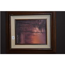 Framed oil on canvas painting of a trees and lake signed by artist David Daase 1984, 10  X 8