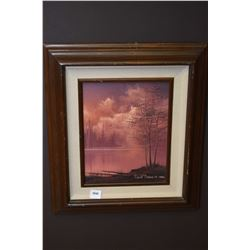 "Framed oil on canvas painting of a trees and lake signed by artist David Daase 1984, 10"" X 8"""
