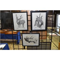 "Three small framed prints, each pencil signed by artist Steve Carter and each titled including ""Wint"