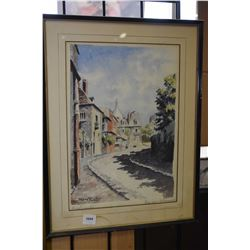 Framed original watercolour painting titled Rue de l' Abreuvior, Montemarte, signed by artist Jean R