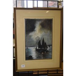 "Framed original watercolour painting of sailing ship in the harbour, no signature seen, 12"" X 8"""