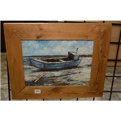 "Framed oil on board painting of a fishing board signed artist A. Kuvylyk (?), 9"" X 11"""