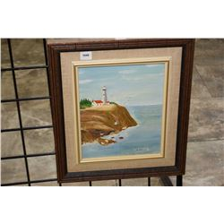 Framed oil on board of a lighthouse on the coast signed by artist G.Purcell, 10  X 8