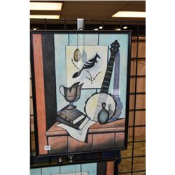 "Framed original watercolour paint of a banjo and a bird signed by artist A. Leikam, 19"" X 15"""