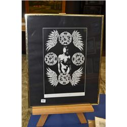 """Framed limited edition print titled """"Scrutinized Identity' pencil signed by artist Tim Koslo, 126/30"""