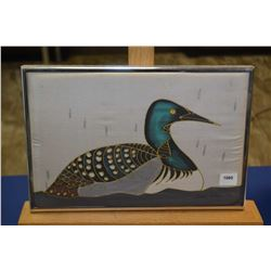 """Framed hand painted on silk loon painting signed by artist 8"""" X 11"""""""
