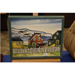 """Framed hand painted on silk painting of a neighbourhood signed by artist Gisahynes, 11"""" X 14"""""""