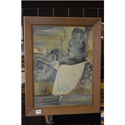 "Framed oil on board ballerina signed by artist Boya'58, 15"" X 12"""