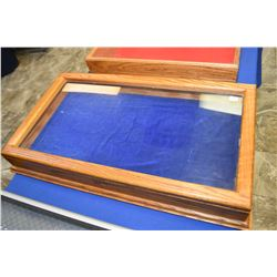 """Oak and glass counter top display cabinet, note no key 30"""" X 17"""""""