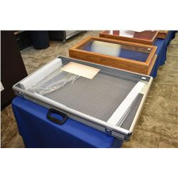Near new aluminium and glass suitcase style counter top display case with carry handle, sans key, 22