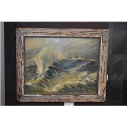 """Rustic framed oil on canvas painting of a ship in a storm signed by artist Hy Porter 28"""" X 36"""""""