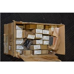 Box lot of part no. CAL-4074 pin, belt fed pawl, each small box containing 10 pins