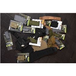 Box lot of new in package 5.11 Tactical gear including C5 case, Flash bang pouches, pistol mag pouch