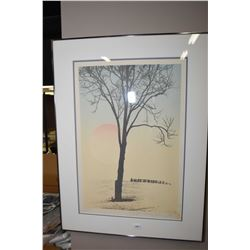 Framed limited edition print of a sunset scene pencil signed by artist Stephen Olson, 19/60