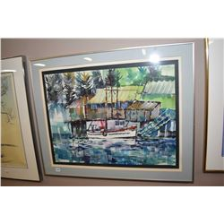 "Framed watercolour painting of a sailing ship in harbour signed by artist Lucas (?), 18"" X 24"""
